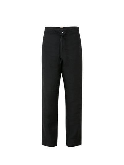 Releve Fashion Oramai London Black Boyfriend Linen Trousers Ethical Designers Sustainable Fashion Brands Eco-Age Brandmark Purchase with Purpose Shop for Good