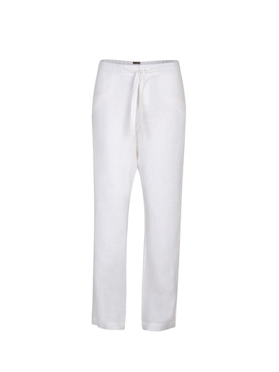 Releve Fashion Oramai London White Boyfriend Linen Trousers Ethical Designers Sustainable Fashion Brands Eco-Age Brandmark Purchase with Purpose Shop for Good