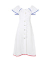 Releve Fashion Oramai London White Capri Linen Summer Dress Ethical Designers Sustainable Fashion Brands Eco-Age Brandmark Purchase with Purpose Shop for Good