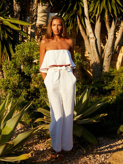 Releve Fashion Oramai London Ibiza Set Linen Top White Ethical Designers Sustainable Fashion Brands Eco-Age Brandmark Purchase with Purpose Shop for Good