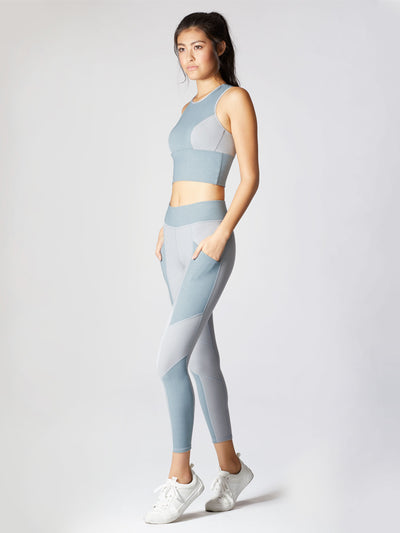 Releve Fashion Michi Athleisure Wear Ethical Designers Sustainable Fashion Brands Purchase with Purpose Shop for Good Aura Crop Top Angelite Blue