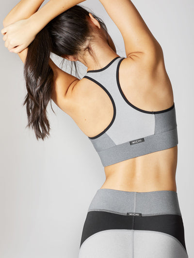 Releve Fashion Michi Athleisure Wear Ethical Designers Sustainable Fashion Brands Purchase with Purpose Shop for Good Glacier Bra Moonstone Grey