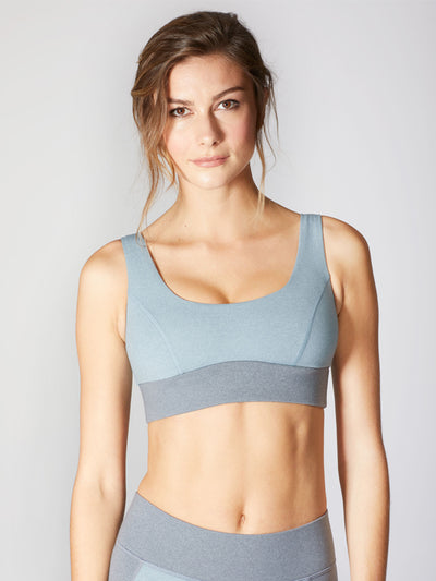 Releve Fashion Michi Athleisure Wear Ethical Designers Sustainable Fashion Brands Purchase with Purpose Shop for Good Lotus Bra Angelite Blue