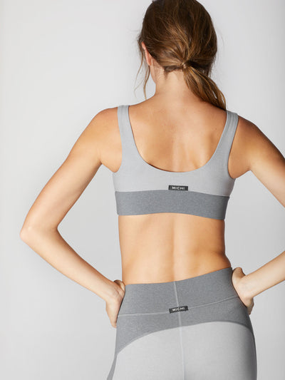 Releve Fashion Michi Athleisure Wear Ethical Designers Sustainable Fashion Brands Purchase with Purpose Shop for Good Lotus Bra Moonstone Grey