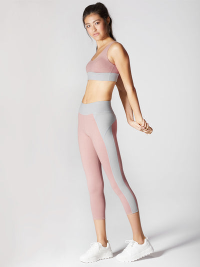 Releve Fashion Michi Athleisure Wear Ethical Designers Sustainable Fashion Brands Purchase with Purpose Shop for Good Lotus Crop Legging Rose Quartz