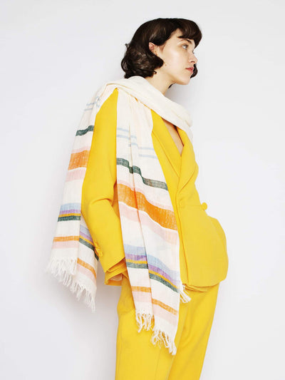 Releve Fashion Abury Extra Long Multicolour Light Summer Scarf Sustainable Ethical Fashion Brand Certified B Corp Positive Luxury Brands to Trust Butterfly Mark Positive Fashion Purchase with Purpose Shop for Good