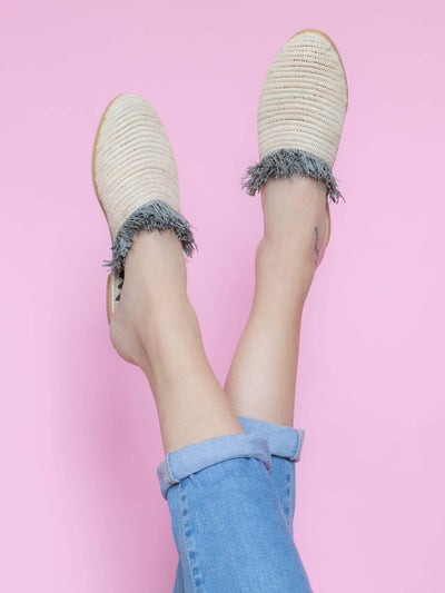 Releve Fashion Abury Beige Grey Raffia Slippers with Fringes Sustainable Ethical Fashion Brand Certified B Corp Positive Luxury Brands to Trust Butterfly Mark Positive Fashion Purchase with Purpose Shop for Good
