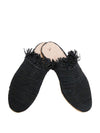Releve Fashion Abury Black Raffia Slippers with Fringes Sustainable Ethical Fashion Brand Certified B Corp Positive Luxury Brands to Trust Butterfly Mark Positive Fashion Purchase with Purpose Shop for Good