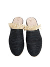 Releve Fashion Abury Black Beige Raffia Slippers with Fringes Sustainable Ethical Fashion Brand Certified B Corp Positive Luxury Brands to Trust Butterfly Mark Positive Fashion Purchase with Purpose Shop for Good