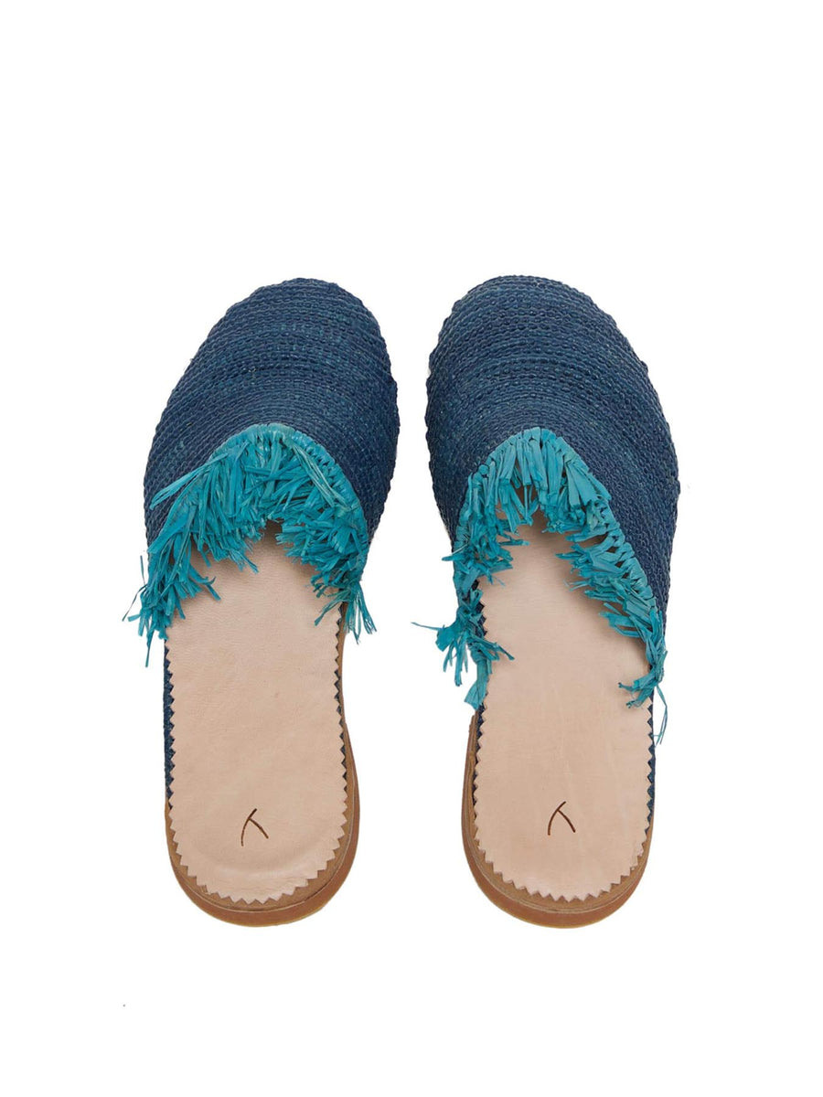 Releve Fashion Abury Blue Turquoise Raffia Slippers with Fringes Sustainable Ethical Fashion Brand Certified B Corp Positive Luxury Brands to Trust Butterfly Mark Positive Fashion Purchase with Purpose Shop for Good