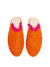 Raffia Slippers with Fringes, Orange and Pink