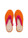Releve Fashion Abury Orange and Pink Raffia Slippers with Fringes Sustainable Ethical Fashion Brand Certified B Corp Positive Luxury Brands to Trust Butterfly Mark Positive Fashion Purchase with Purpose Shop for Good