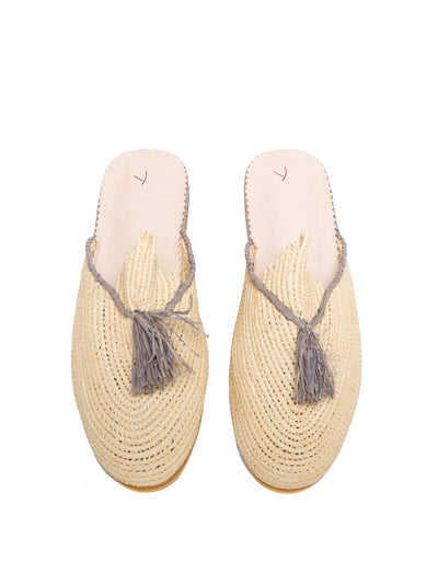 Releve Fashion Abury Beige and Grey Raffia Slippers with Tassle Sustainable Ethical Fashion Brand Certified B Corp Positive Luxury Brands to Trust Butterfly Mark Positive Fashion Purchase with Purpose Shop for Good