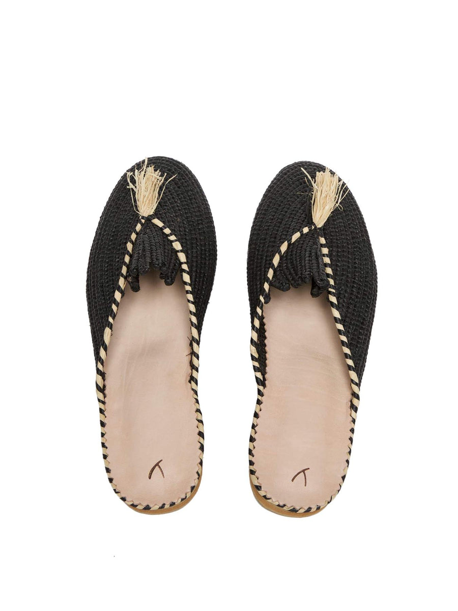 Releve Fashion Abury Black and Beige Raffia Slippers with Tassle Sustainable Ethical Fashion Brand Certified B Corp Positive Luxury Brands to Trust Butterfly Mark Positive Fashion Purchase with Purpose Shop for Good