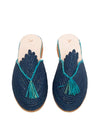 Releve Fashion Abury Blue and Turquoise Raffia Slippers with Tassle Sustainable Ethical Fashion Brand Certified B Corp Positive Luxury Brands to Trust Butterfly Mark Positive Fashion Purchase with Purpose Shop for Good