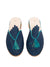 Raffia Slippers with Tassle, Blue and Turquoise