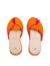 Releve Fashion Abury Orange and Pink Raffia Slippers with Tassle Sustainable Ethical Fashion Brand Certified B Corp Positive Luxury Brands to Trust Butterfly Mark Positive Fashion Purchase with Purpose Shop for Good