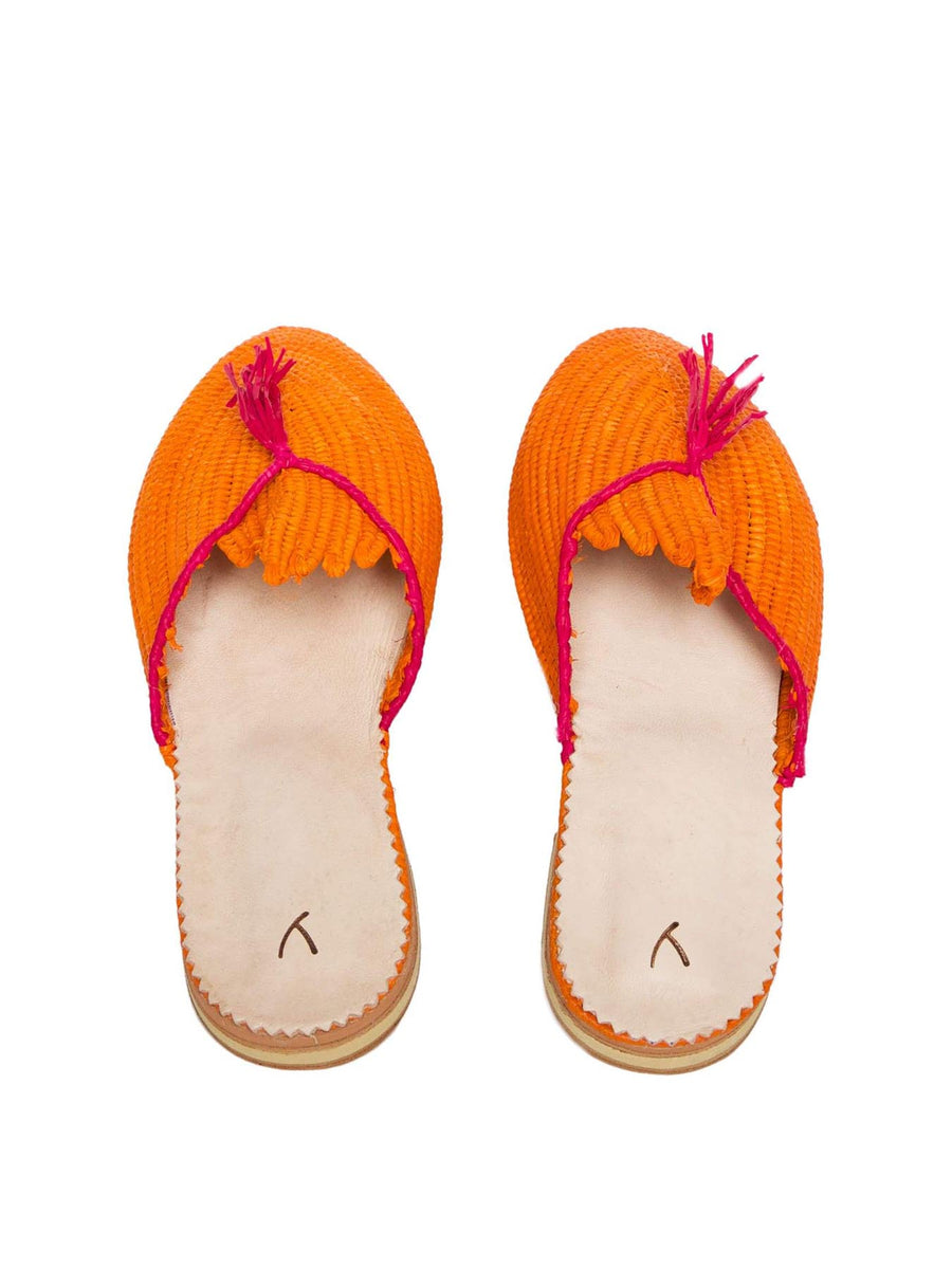 Raffia Slippers with Tassle, Orange and Pink