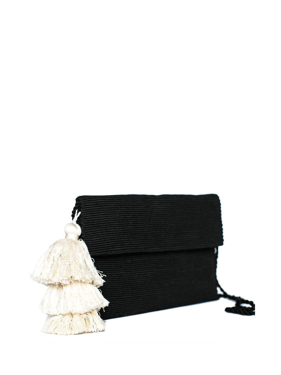 Cotton Clutch with Tassel, Black and White