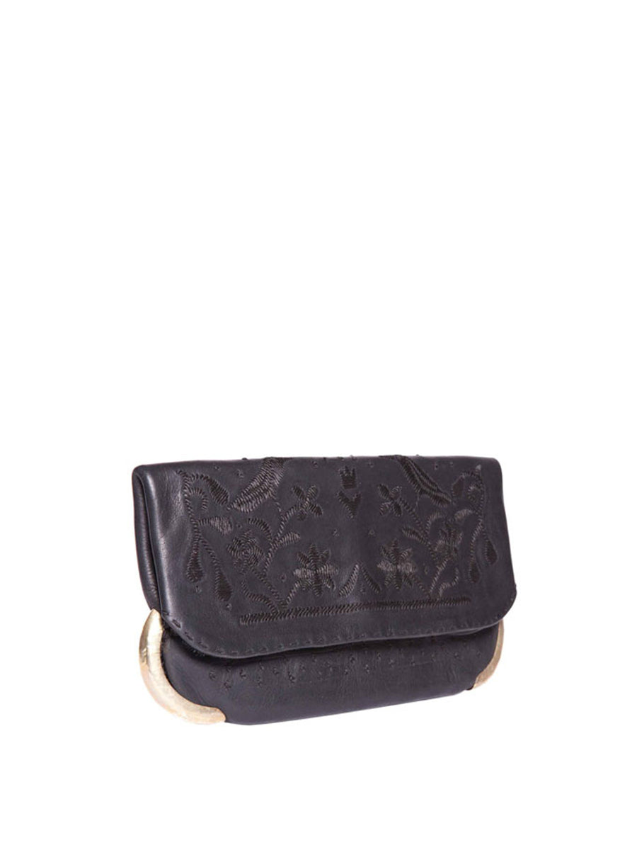 Releve Fashion Abury Shop for Good Buy Sustainable Fashion Ethical Fashion Brand Positive Fashion Positive Luxury Brands to Trust Butterfly Mark Certified B Corp Black Leather Lovebirds Clutch