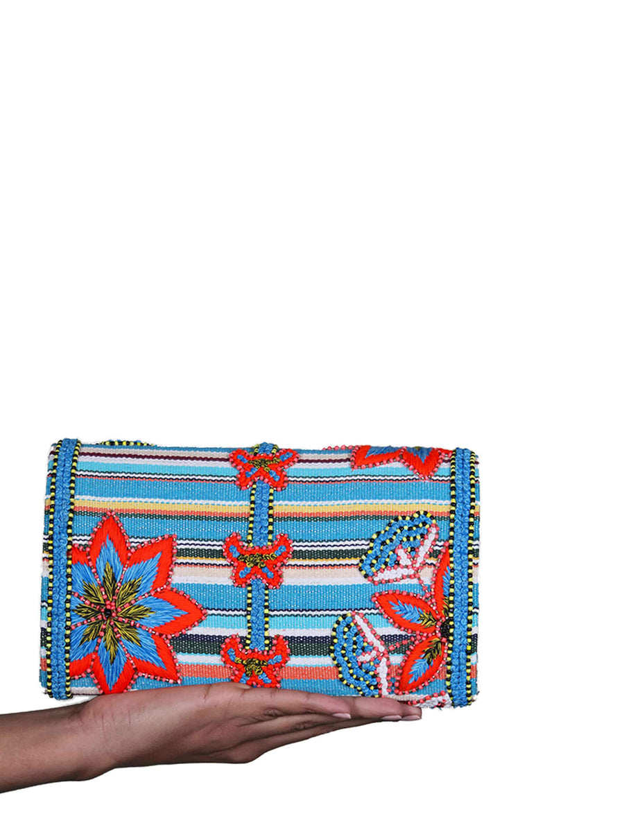 Releve Fashion Abury Handmade Beaded Mykonos Clutch Sustainable Ethical Fashion Brand Certified B Corp Positive Luxury Brands to Trust Butterfly Mark Positive Fashion Purchase with Purpose Shop for Good