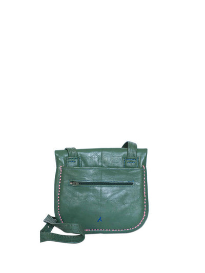 Releve Fashion Abury Shop for Good Buy Sustainable Fashion Ethical Fashion Brand Positive Fashion Positive Luxury Brands to Trust Butterfly Mark Certified B Corp Green Patterned Leather Berber Shoulder Bag