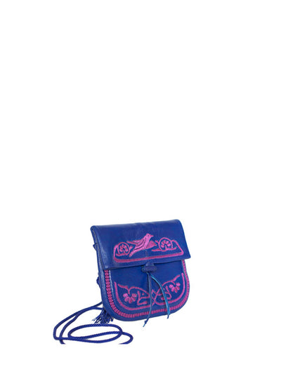 Releve Fashion Abury Shop for Good Buy Sustainable Fashion Ethical Fashion Brand Positive Fashion Positive Luxury Brands to Trust Butterfly Mark Certified B Corp Blue Pink Leather Mini Berber Bag