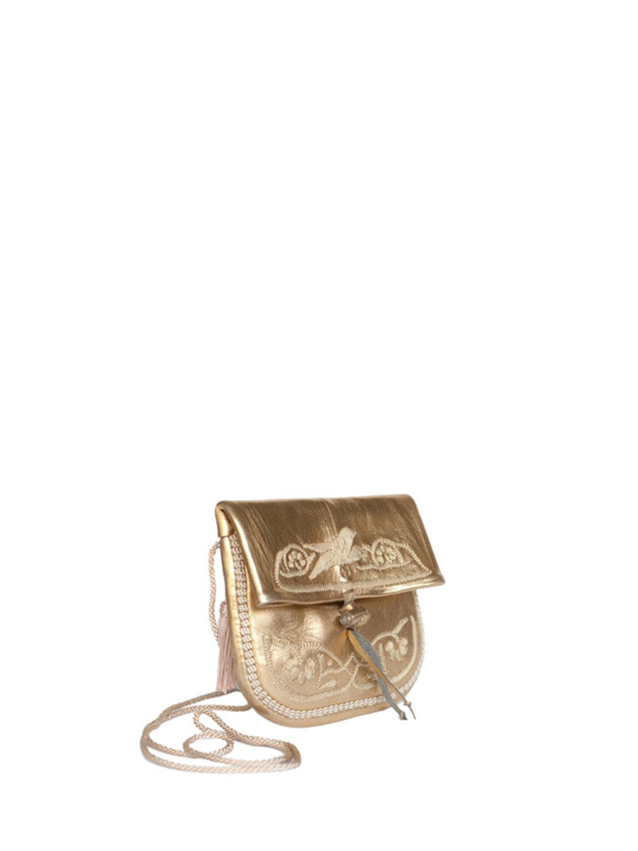 Releve Fashion Abury Shop for Good Buy Sustainable Fashion Ethical Fashion Brand Positive Fashion Positive Luxury Brands to Trust Butterfly Mark Certified B Corp Gold Leather Mini Berber Bag