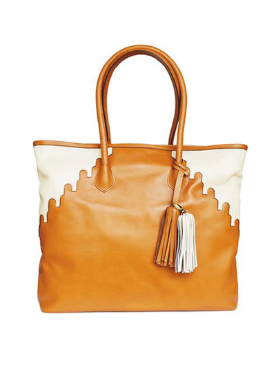 Releve Fashion Abury Shop for Good Buy Sustainable Fashion Ethical Fashion Brand Positive Fashion Positive Luxury Brands to Trust Butterfly Mark Certified B Corp Rabbia Camel Leather Shopper Tote Bag