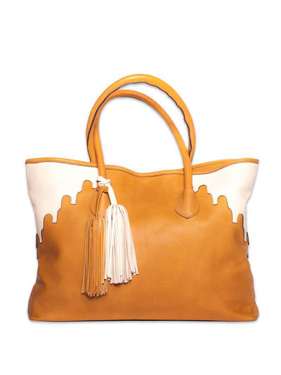 Releve Fashion Abury Shop for Good Buy Sustainable Fashion Ethical Fashion Brand Positive Fashion Positive Luxury Brands to Trust Butterfly Mark Certified B Corp Rabbia Camel Leather Tote Bag