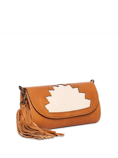 Releve Fashion Abury Shop for Good Buy Sustainable Fashion Ethical Fashion Brand Positive Fashion Positive Luxury Brands to Trust Butterfly Mark Certified B Corp Rehana Camel Leather Clutch