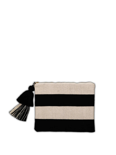 Releve Fashion Abury Black Beige Striped Cotton Pouch Tassel Sustainable Ethical Fashion Brand Certified B Corp Positive Luxury Brands to Trust Butterfly Mark Positive Fashion Purchase with Purpose Shop for Good