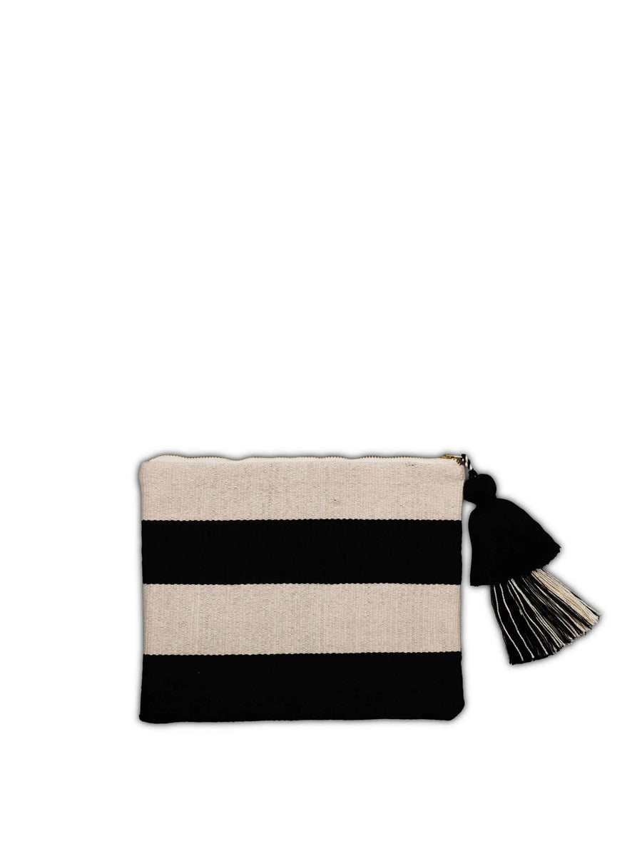 Striped Cotton Pouch, Black and Cream