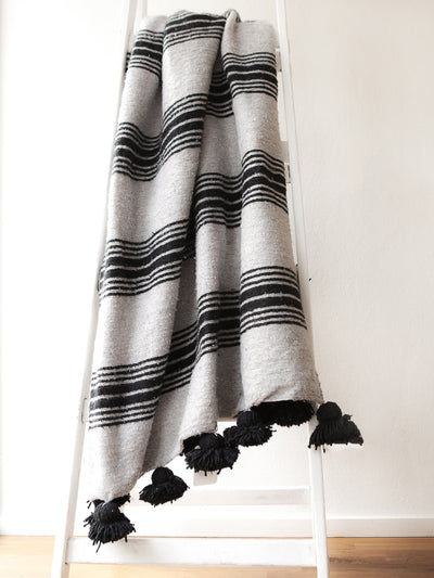Releve Fashion Abury Shop for Good Buy Sustainable Fashion Ethical Fashion Brand Positive Fashion Positive Luxury Brands to Trust Butterfly Mark Certified B Corp Black Grey Striped Wool Throw