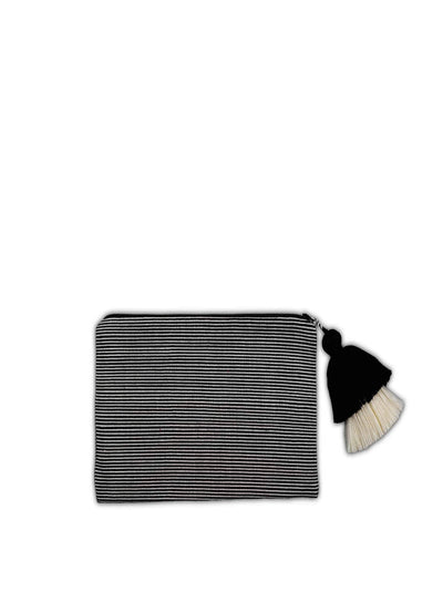 Releve Fashion Abury Black Cream Thin Striped Cotton Pouch Tassel Sustainable Ethical Fashion Brand Certified B Corp Positive Luxury Brands to Trust Butterfly Mark Positive Fashion Purchase with Purpose Shop for Good