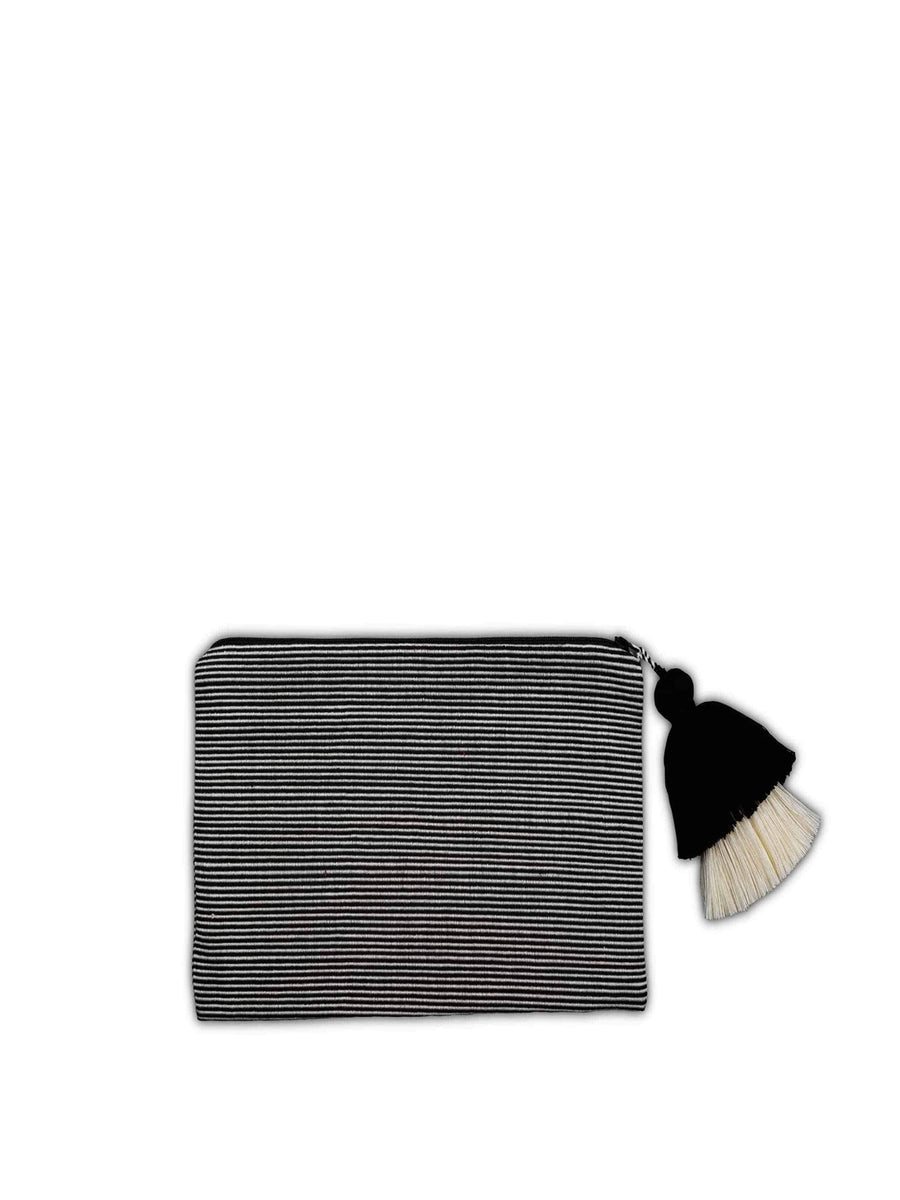 Thin Striped Cotton Pouch, Black and Cream