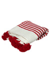 Releve Fashion Abury Red Cream Striped Wool Throw Sustainable Ethical Fashion Brand Certified B Corp Positive Luxury Brands to Trust Butterfly Mark Positive Fashion Purchase with Purpose Shop for Good