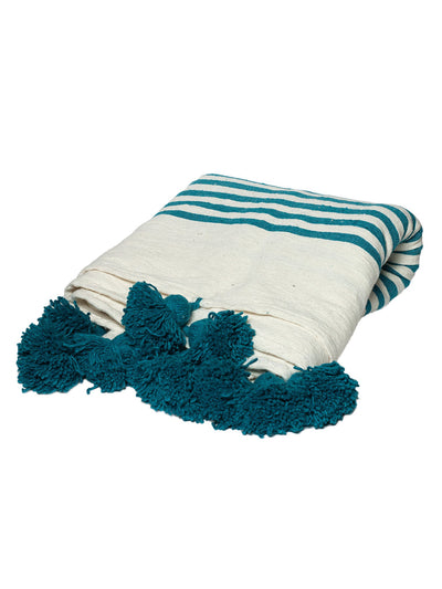 Releve Fashion Abury Turquoise Cream Striped Wool Throw Sustainable Ethical Fashion Brand Certified B Corp Positive Luxury Brands to Trust Butterfly Mark Positive Fashion Purchase with Purpose Shop for Good