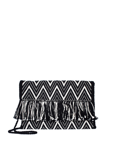 Releve Fashion Abury Black White Zig Zag Cotton Clutch Sustainable Ethical Fashion Brand Certified B Corp Positive Luxury Brands to Trust Butterfly Mark Positive Fashion Purchase with Purpose Shop for Good