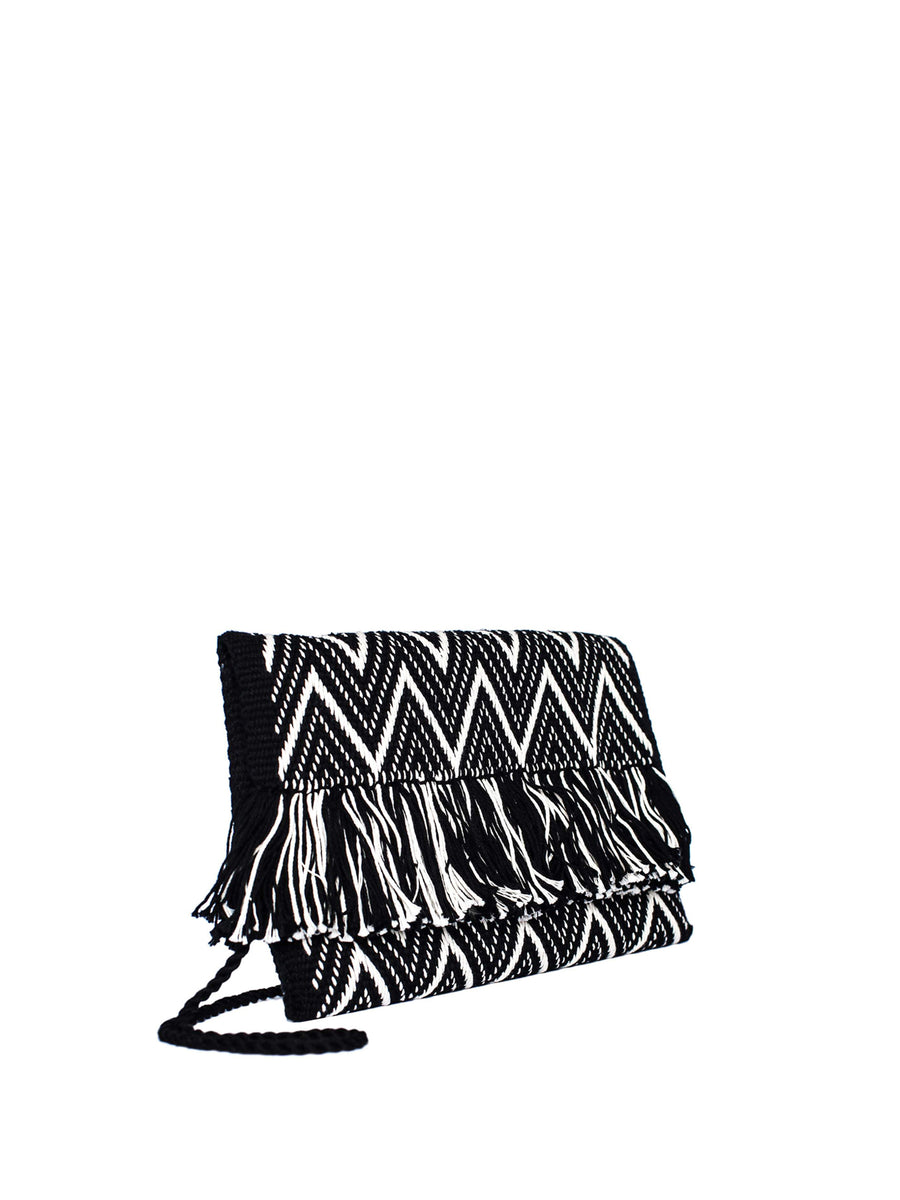 Zigzag Cotton Clutch, Black and White