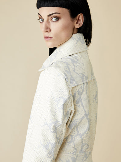 Releve Fashion Appareal Off-White Kira Faux Python Cropped Jacket Sustainable Fashion Conscious Clothing Ethical Designer Brand Technical Design Animal-Friendly Cruelty-Free Innovative Materials Purchase with Purpose Shop for Good