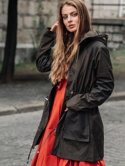Releve Fashion Appareal Earth Green Melissandra Gabardine Parka Sustainable Fashion Conscious Clothing Ethical Designer Brand Technical Design Innovative Materials Purchase with Purpose Shop for Good