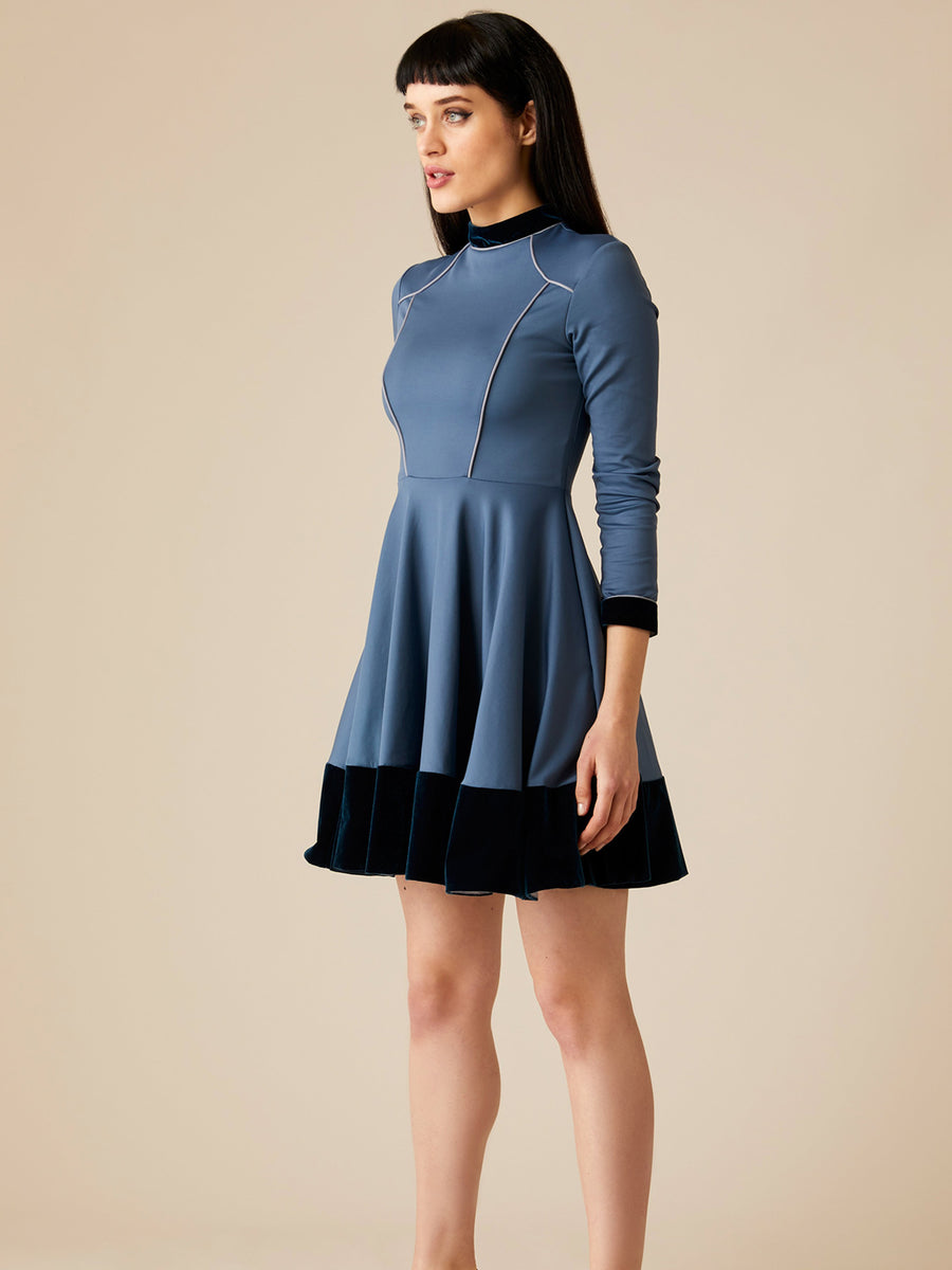 Releve Fashion Appareal Blue Melodie Double Knit Jersey Dress with Velvet Sustainable Fashion Conscious Clothing Ethical Designer Brand Technical Design Innovative Materials Purchase with Purpose Shop for Good