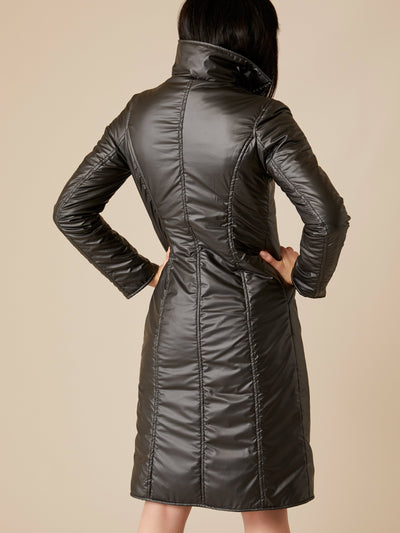 Releve Fashion Appareal Brown Waterproof Gabardine and Goose Thindown Michela Coat Sustainable Fashion Conscious Clothing Ethical Designer Brand Technical Design Animal-Friendly Cruelty-Free Innovative Materials Purchase with Purpose Shop for Good