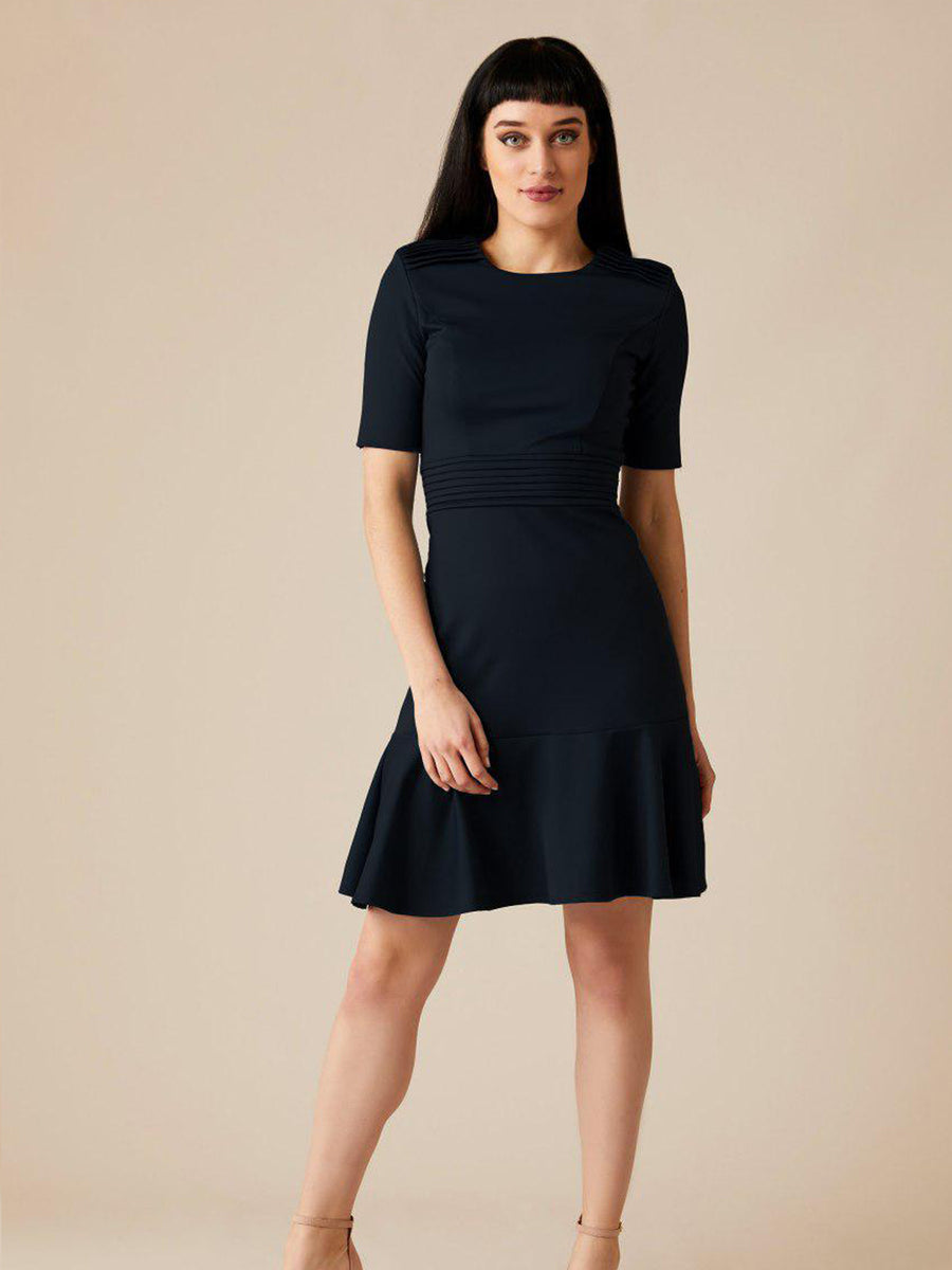 Releve Fashion Appareal Black Olesya Cotton Blend Dress Sustainable Fashion Conscious Clothing Ethical Designer Brand Technical Design Innovative Materials Purchase with Purpose Shop for Good