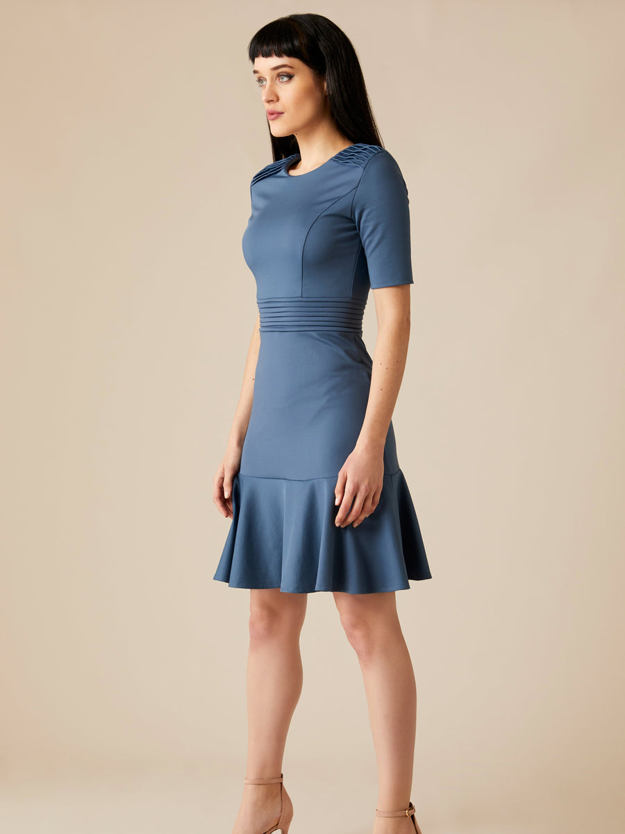 Releve Fashion Appareal Sage Blue Olesya Cotton Blend Dress Sustainable Fashion Conscious Clothing Ethical Designer Brand Technical Design Innovative Materials Purchase with Purpose Shop for Good