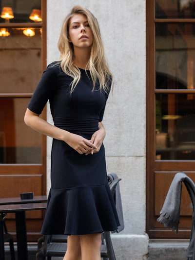 Releve Fashion Appareal Black Olesya Heavyweight Jersey Dress Sustainable Fashion Conscious Clothing Ethical Designer Brand Technical Design Innovative Materials Purchase with Purpose Shop for Good