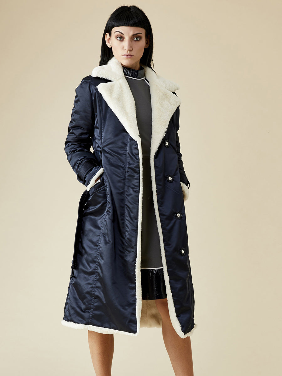 Teddy Faux Fur Coat, Navy