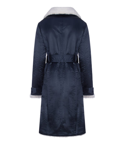 Releve Fashion Appareal Navy Teddy Faux Fur Coat Sustainable Fashion Conscious Clothing Ethical Designer Brand Technical Design Animal-Friendly Cruelty-Free Innovative Materials Purchase with Purpose Shop for Good