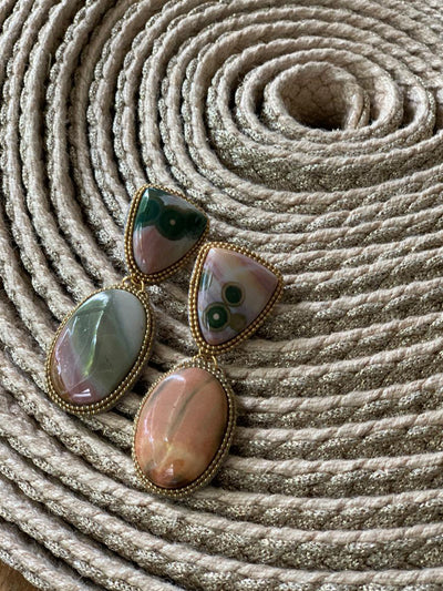 Releve Fashion Bea Valdes Multicoloured Jasper Stone Earrings Handmade Luxury Accessories Ethical Jewelry Designers Sustainable Fashion Brands Artisanal Purchase with Purpose Shop for Good